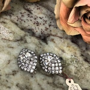 Kramer Vintage Rhinestone Marquis Clip Earrings